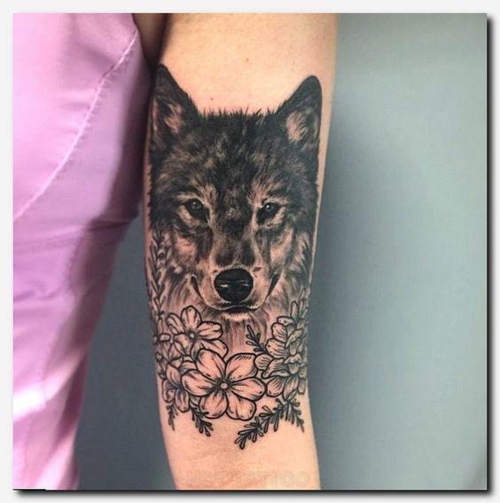 909de3894 Stunning Wolf With Flower Tattoos | Tattoos For Men & Women | Wolf ...