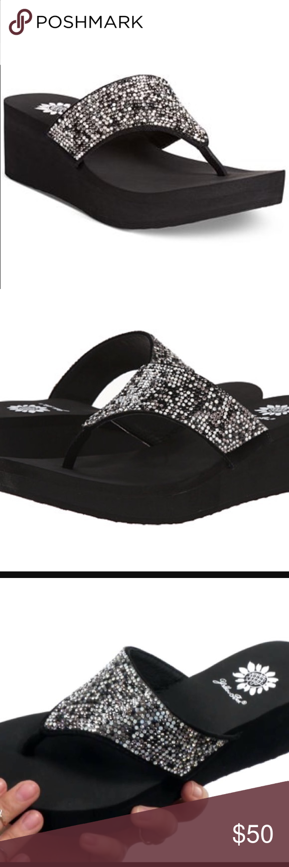 "Yellow Box Reija Wedge Thong Sandals Spice things up with the Reija wedge thong Sandals by Yellowbox. They add sparkle to all your favorite outfits in a way that's easy on your feet. Man-made upper, round open-toe wedge thong sandals, 1/2"" platform, 2"" wedge heel, man-made sole. Brand new, never worn, in box. Yellow Box Shoes Sandals"