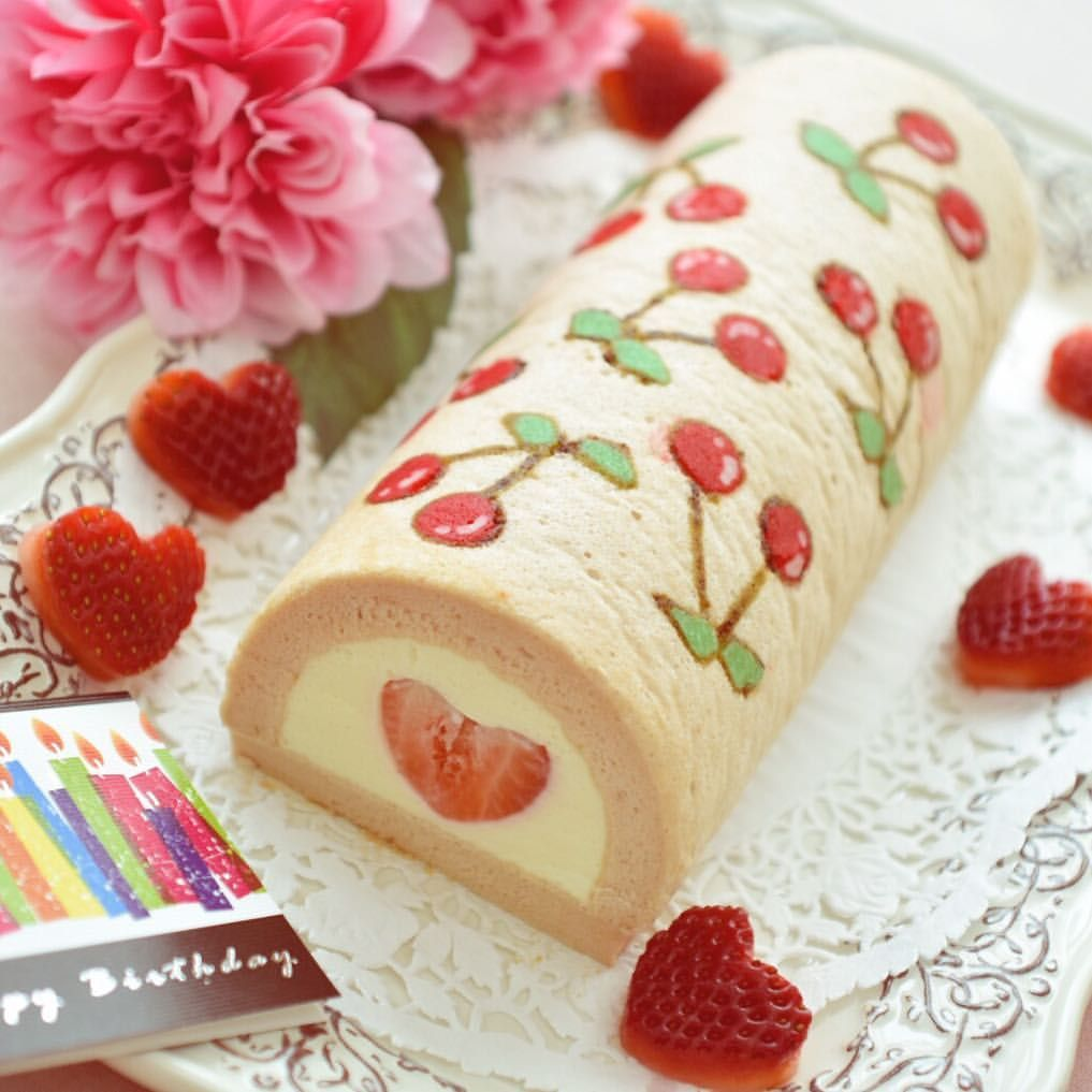 Cherry Deco Roll Cake For My Friend S Birthday Filled With Yogurt Mousse And Heart Shaped Strawberry Happy Birt Roll Cake Yogurt Mousse Friend Birthday
