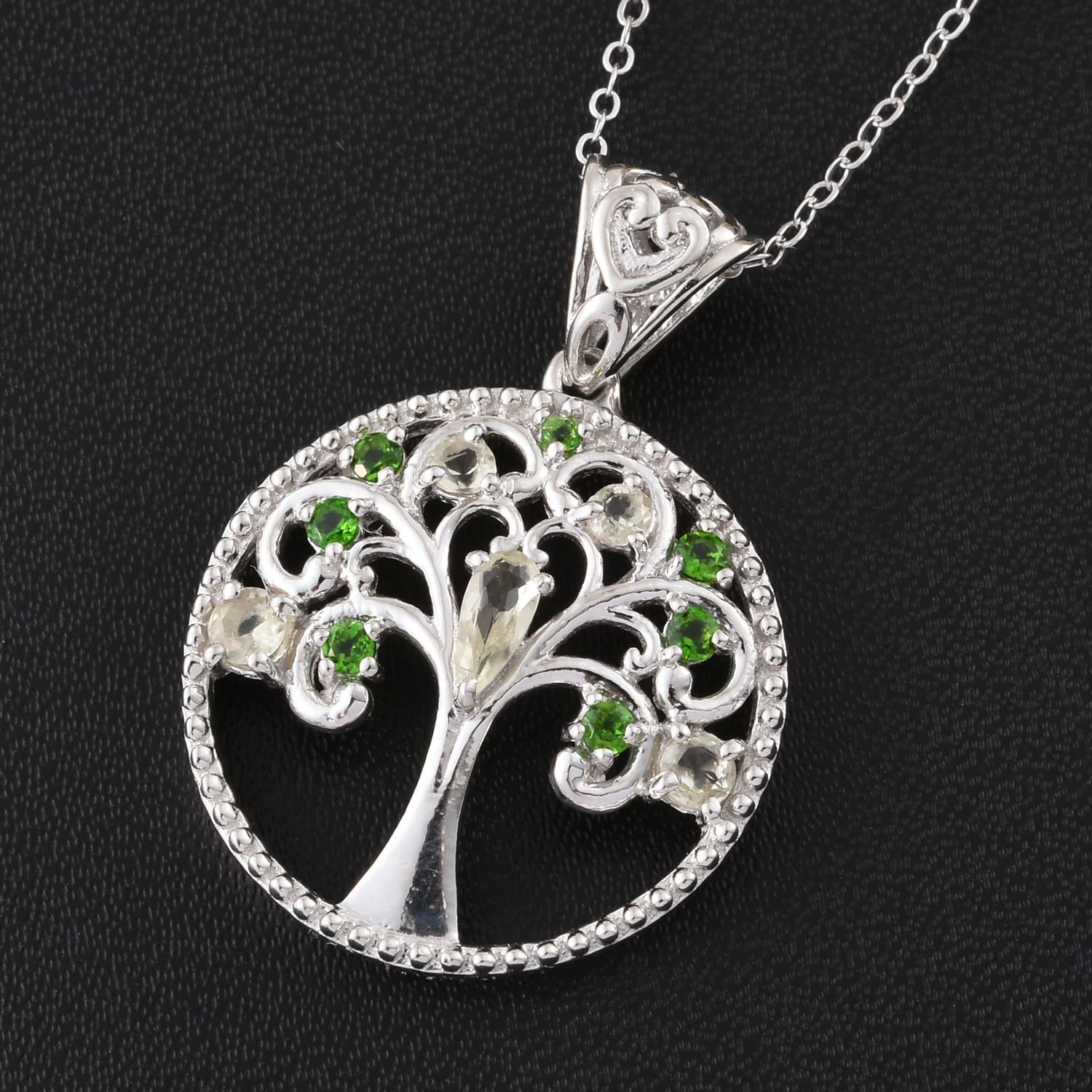 Turkizite and russian diopside platinum over sterling silver tree turkizite and russian diopside platinum over sterling silver tree pendant with chain aloadofball Image collections