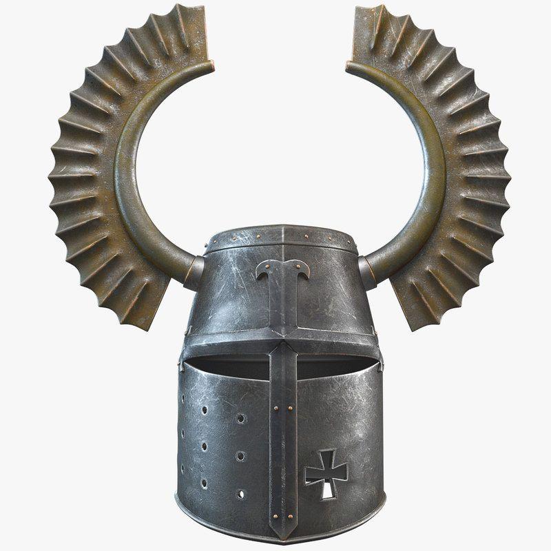 Horned Teutonic Knight Helmet 3d Model In 2019