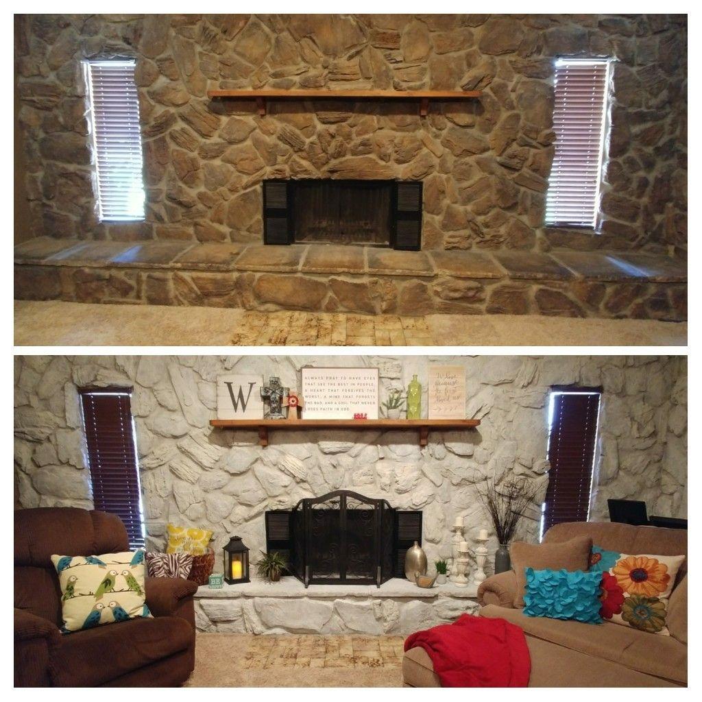 Whitewash stone fireplace before/after Whitewash stone