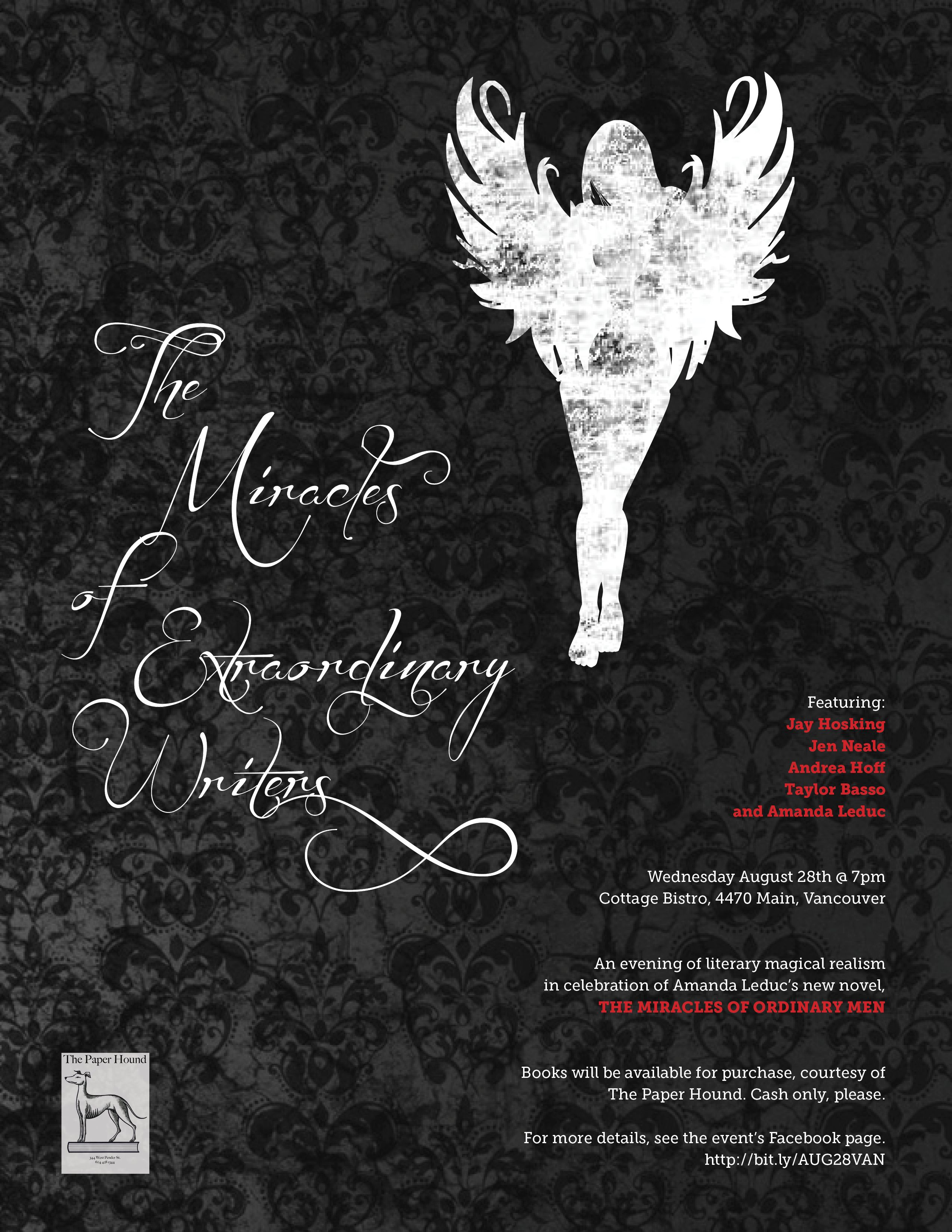 Poster for a reading event in Vancouver featuring Amanda Leduc, Jay Hosking, Jen Neale, Andrea Hoff and Taylor Basso.