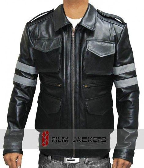 6097b8588 Resident Grey Stripe Shiny Black Shirt Collar Boys Lamb Leather ...