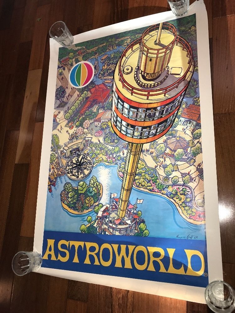 74bad3f00dcb Very rare 1968 Advertising poster for astroworld designed by Harper GOFF  Great condition but does have pinholes Full sized 38