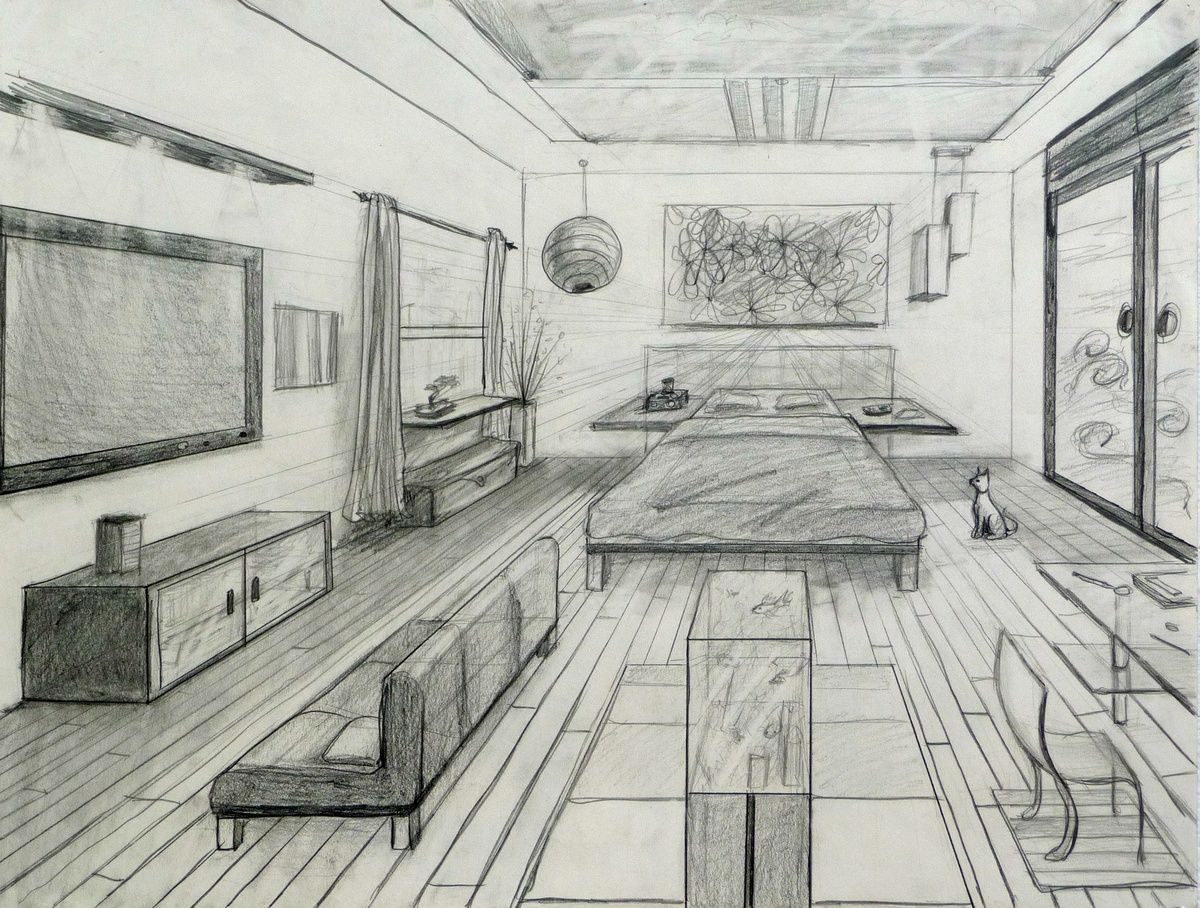 Drawing A Room Using One Point Perspective Room Perspective Drawing Perspective Room One Point Perspective