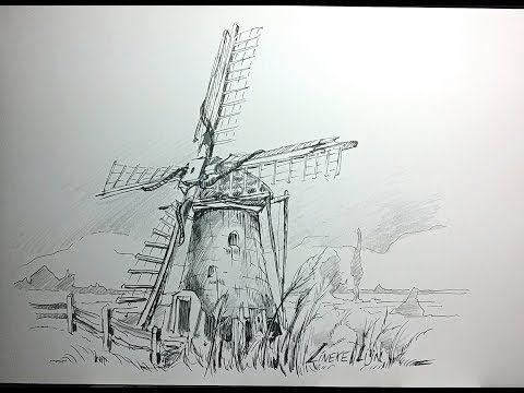 hoe teken je een molen / perspectief en landschappen / #9 - youtube