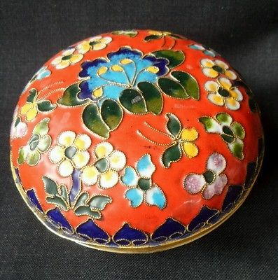 Antique Cloisonne Champleve Chinese Oriental Round Jewellery Jewelry Trinket box