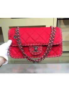 f48264d806d5 Chanel Medium Wool Flap Bag Embellished With A Braid And An Edelweiss Red  Paris-Salzburg 2014/15