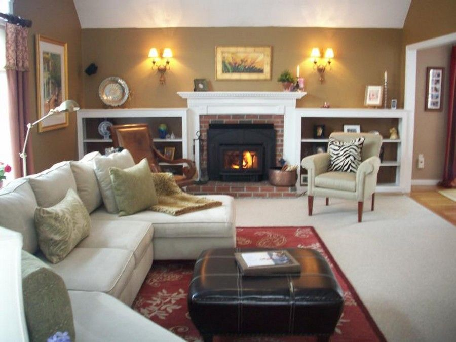 House, Ideas For Small Family Room With Wood Stove And Red Carpet ...