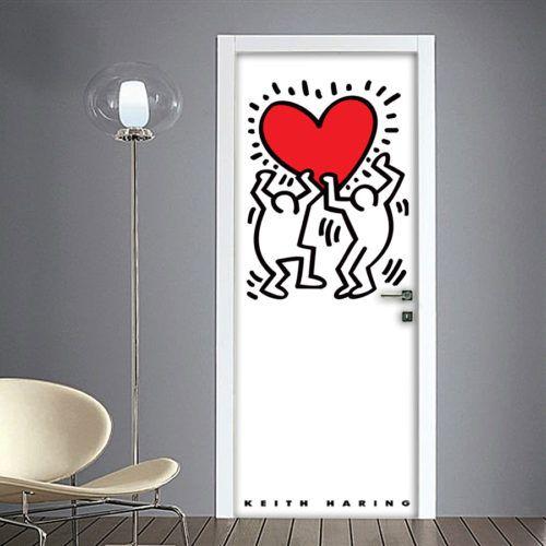 Adesivi Murali Keith Haring.Keith Haring Adesivo Per Porta Keith Haring Dipingere Una Porta Adesivi