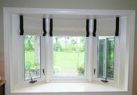Triple Windows Treatments A Challenge Windows Pinterest Window Treatments Living Room Kitchen Bay Window Bow Window Treatments