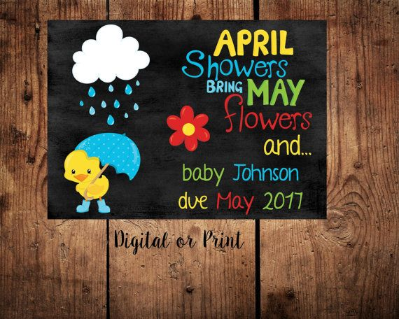 Pregnancy announcement card april showers may flowers spring baby ...