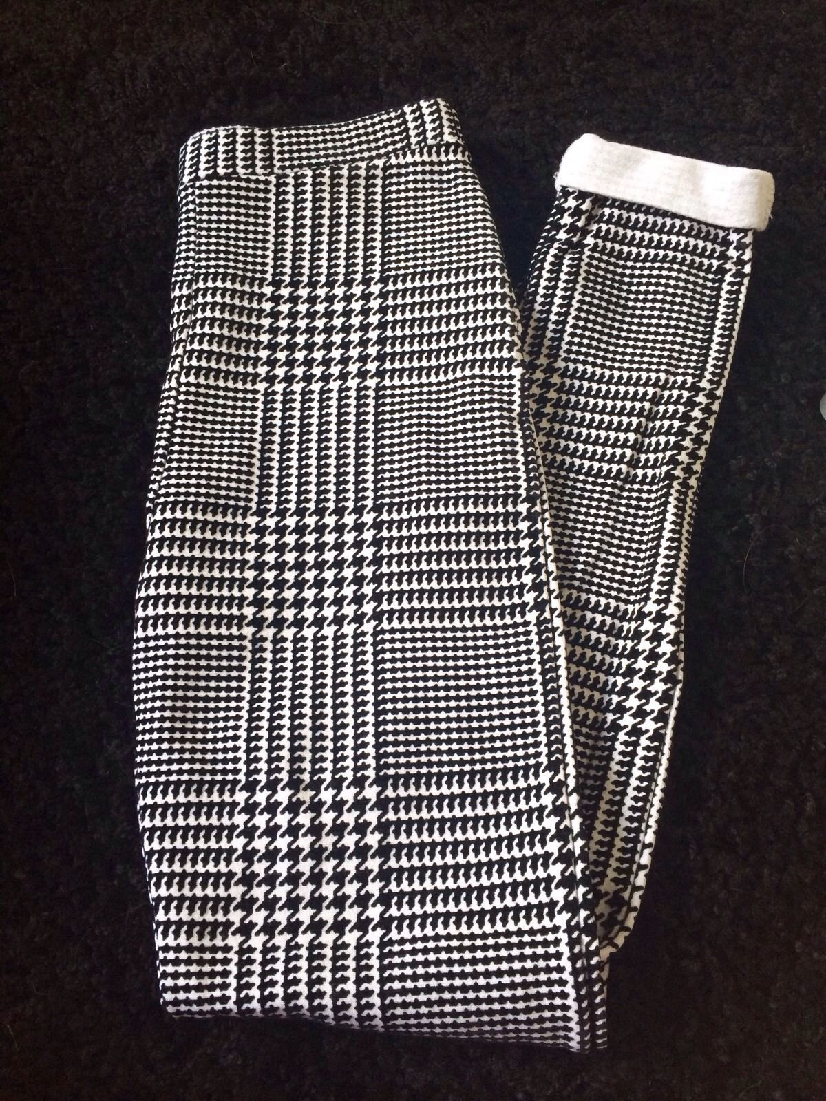 Topshop Flocked Dogtooth Print Leggings/treggings Size 6 Excellent Condition   eBay