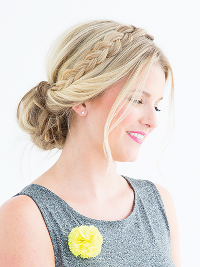 loosely braided updo for bridal shower
