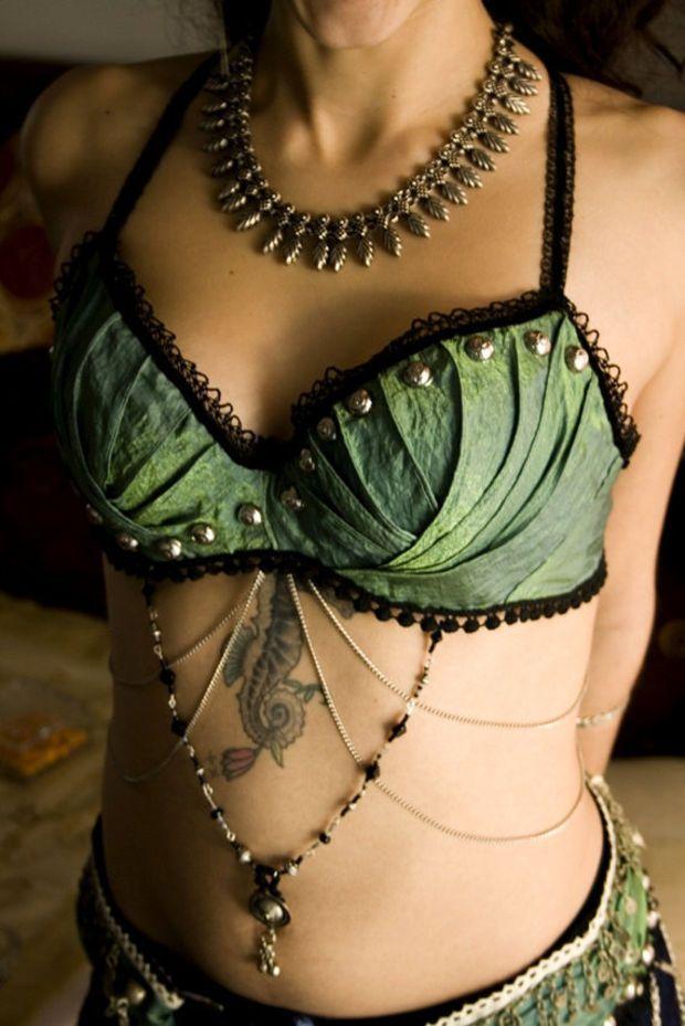 Tribal mermaid - Bra and Belt set - Tribal Fusion Bellydance costume on Wanelo