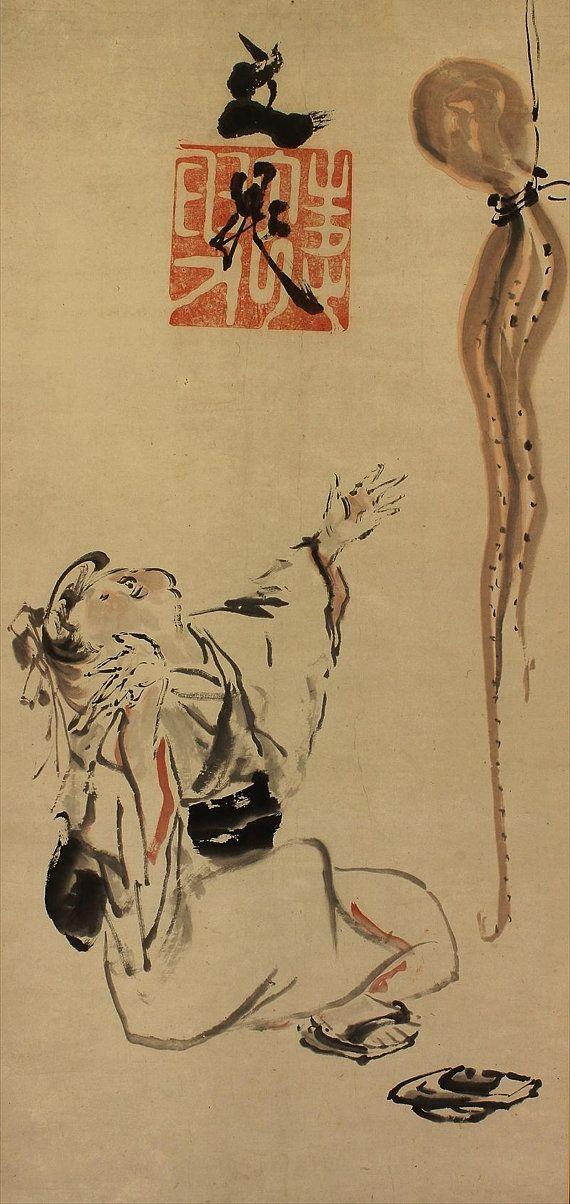 Antique Japanese Scroll Kakejiku Fine Art Wall Decor Hanging Scroll ...