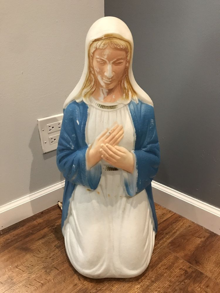 Vintage Poloron Nativity Mary Christmas Lighted Blow Mold Yard Decor