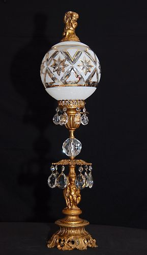 Vintage Art Deco Cherub Brass Crystal Table Lamp Crystal Table Lamps Lamp Glass Lamp