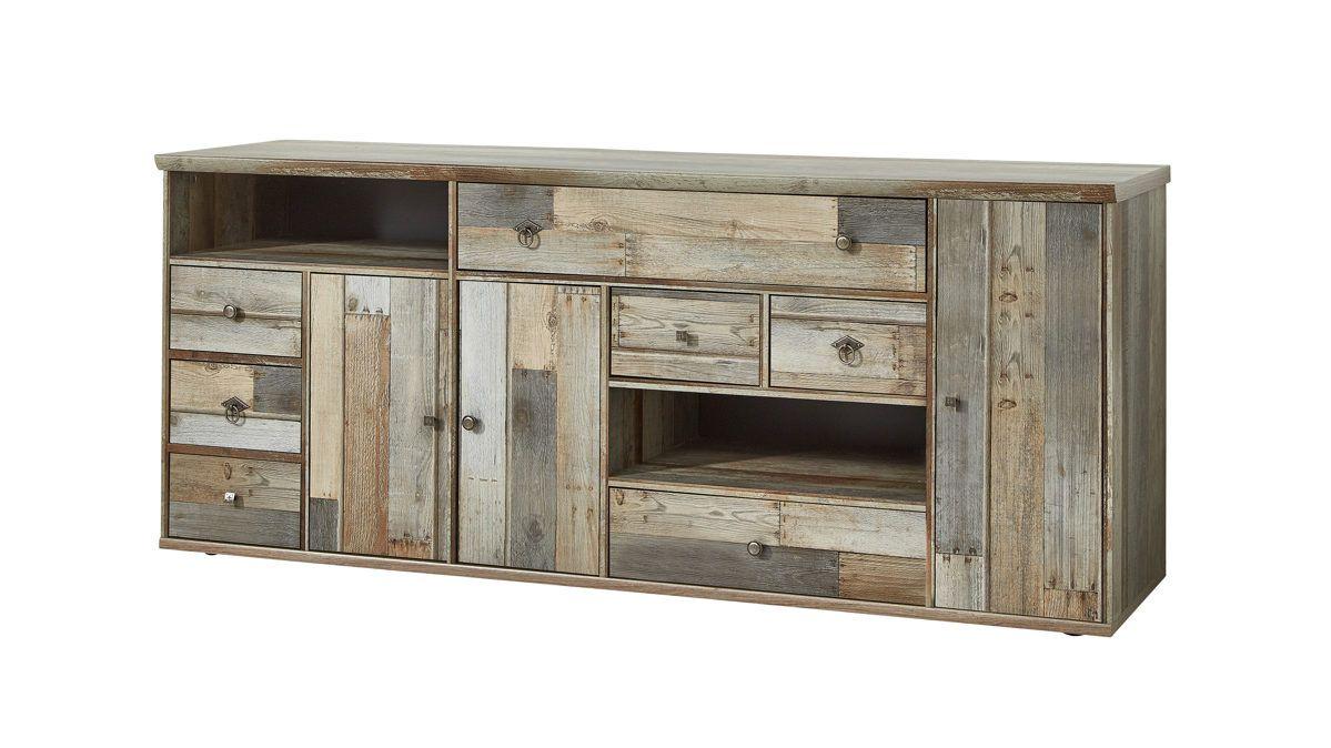 ideboard | Driftwood-Nachbildung, sichtbare Rückwände dunkelgraue Kunststoffoberflächen | Griffe in Antik-Optik | Schubladen mit Kugelauszug, Türen mit Dämpfung
