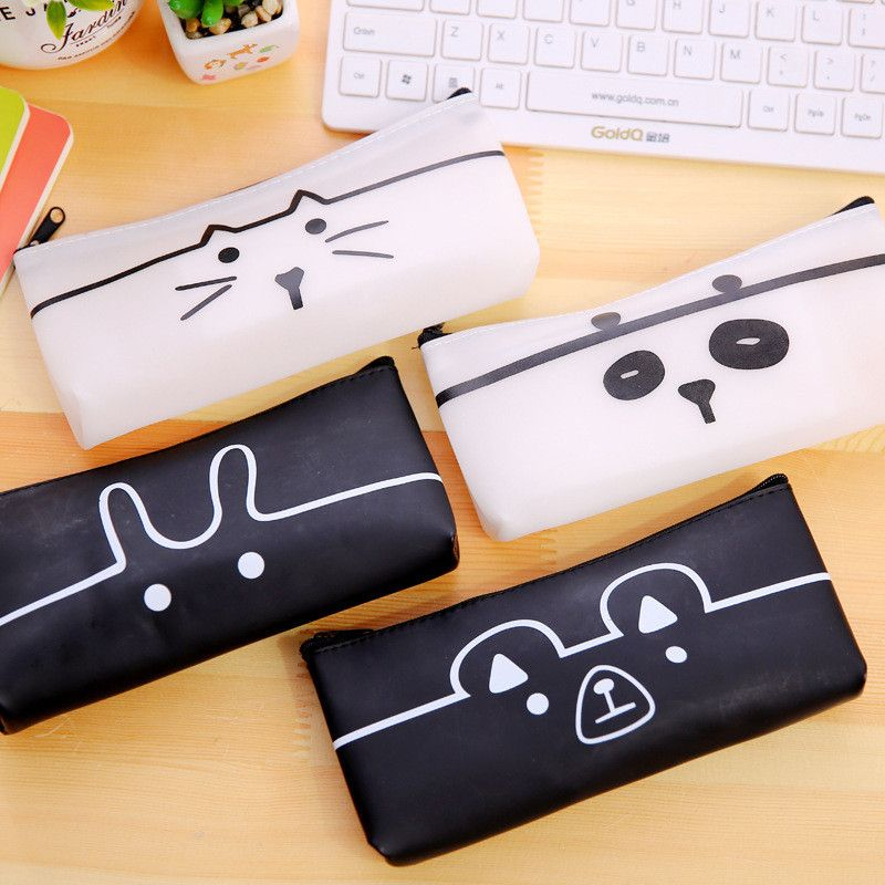 creative office supplies. Creative Stationery Cute Simple Pencil Case Black And White Cartoon Animals Bags Large Capacity Pen Office Supplies