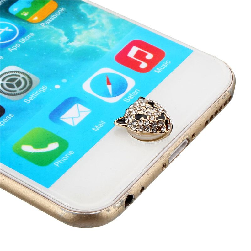 newest e62fa 72d06 3D Crystal Leopard Home Button Sticker For Apple iPhone 6S Plus iPad ...