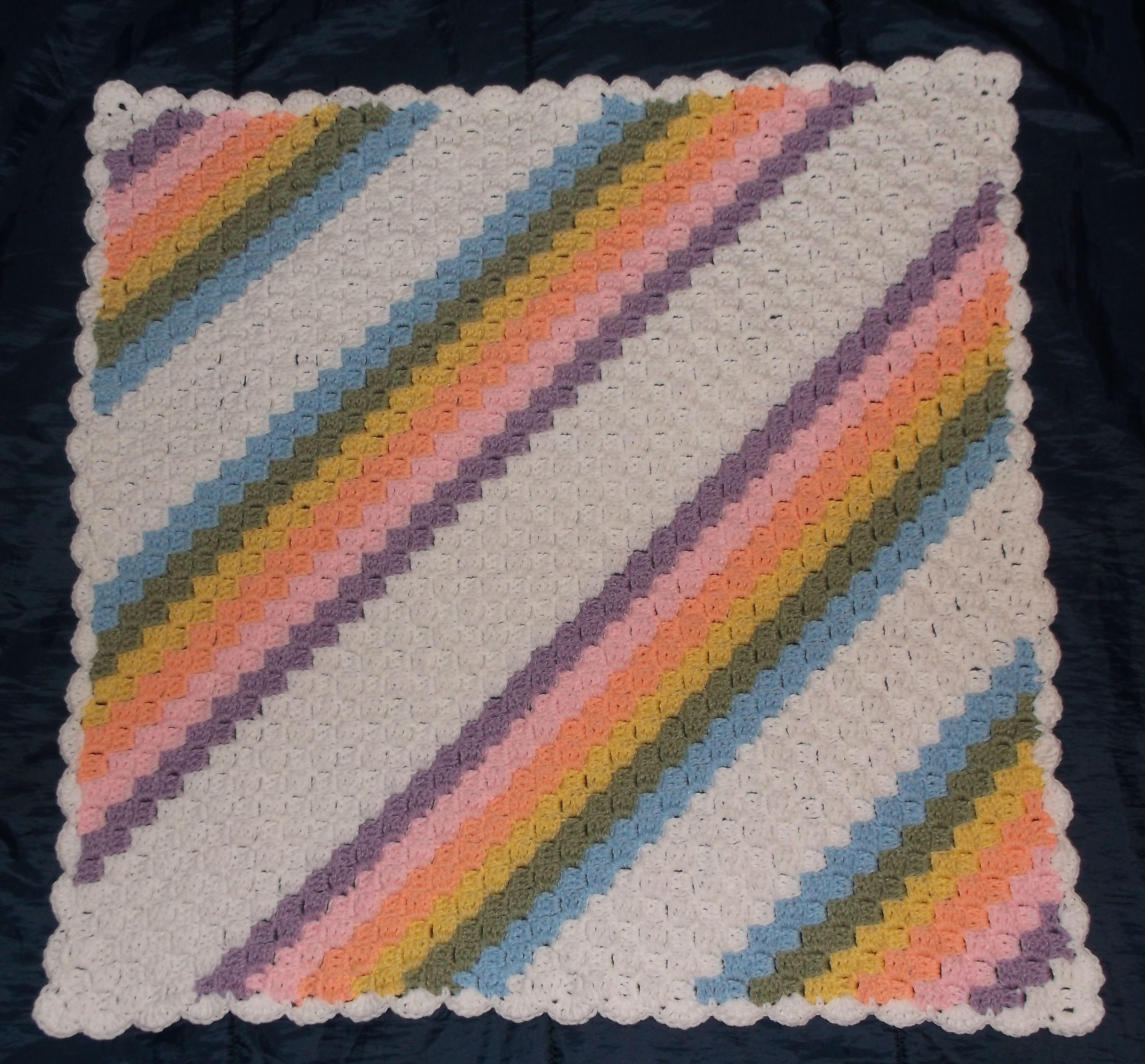Corner 2 Corner Crochet Baby Blanket Afghan http://www.redheart.com ...