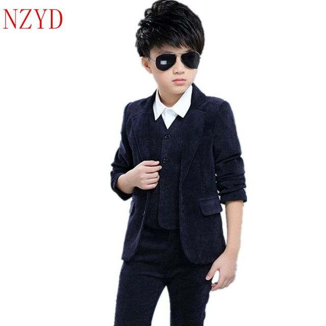 New Fashion Autumn Boy Clothes Long Sleeve Vest Lapel Pants Suit Pure Color  Leisure Handsome Children Three-Piece Suit HL0434 8df1579817f0