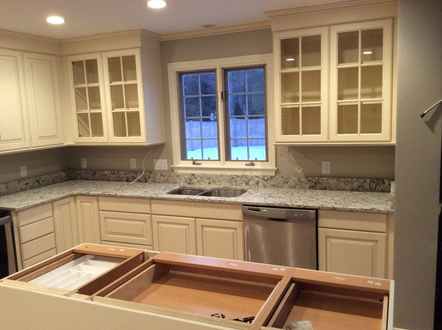 cambria u201cpraa sandsu201d quartz countertop blends well with the brookhaven cabinets in antique