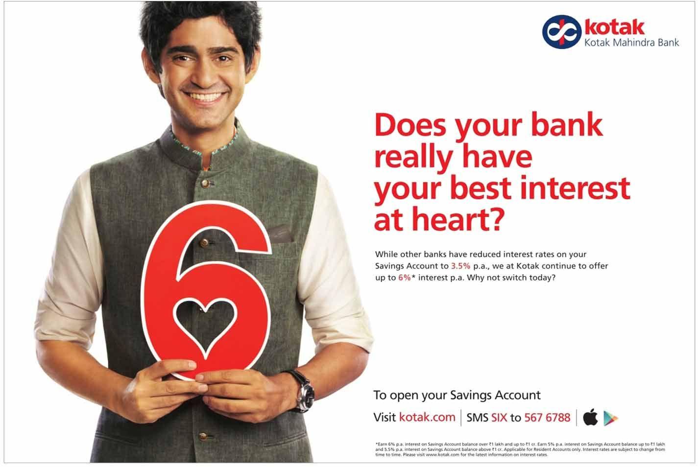 Kotak Mahindra Bank Offers 6 Interest On Savings Account Kotak Mahindra Bank Savings Account Accounting