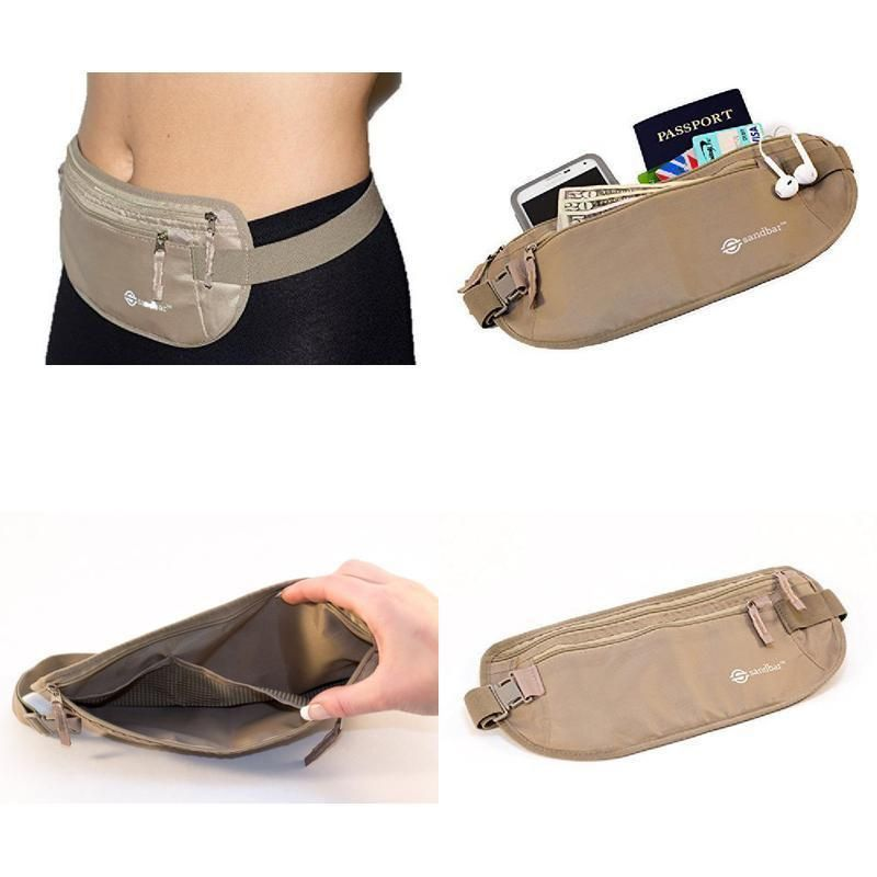 Handmade LEATHER Money Belt Concealed Travel Pouch Bag Purse Wallet Men Women