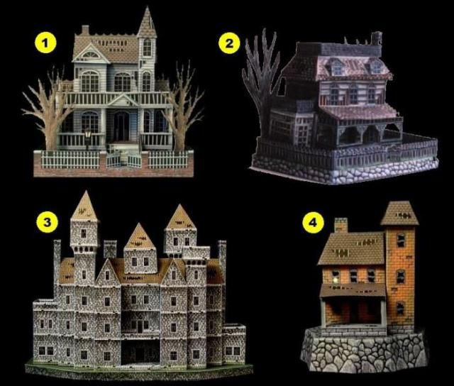 Four Haunted Houses Paper Models