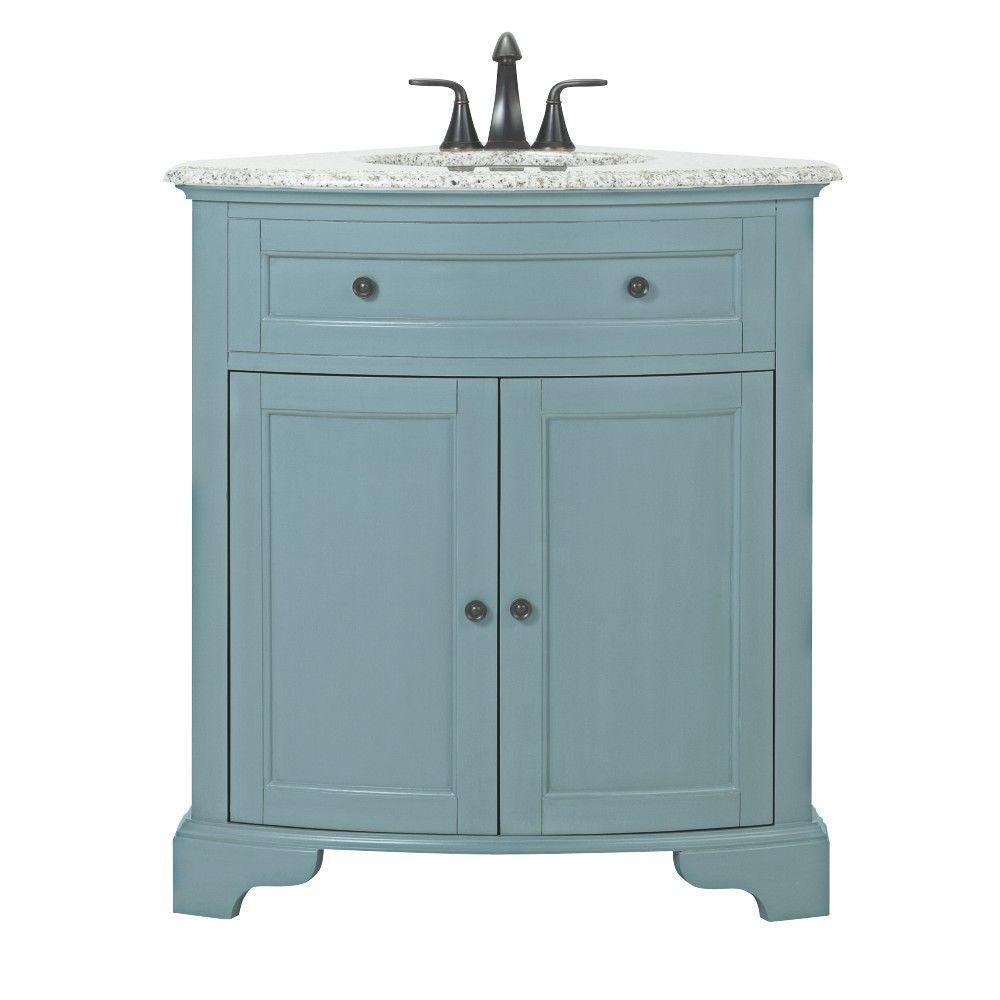 Home Decorators Collection Hamilton 31 In W Corner Bath Vanity In Sea Glass With Granite Vanity Top In Grey And White Sink 10809 Cs30h Sg Granite Vanity Tops Corner Vanity Bath Vanities