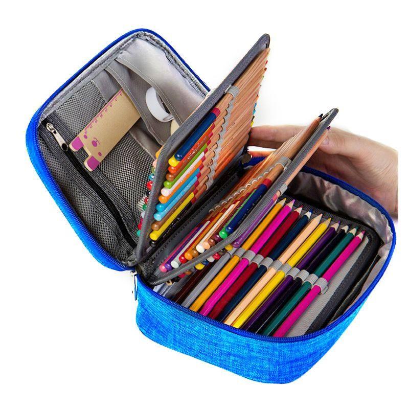 Student Pen Pencil Storage Bag Kids Cases Zip Canvas Large Capacity Boxes