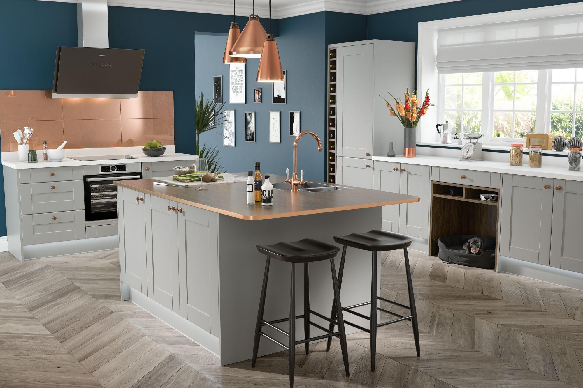 Shaker Kitchen in Fossil Grey Open plan kitchen dining