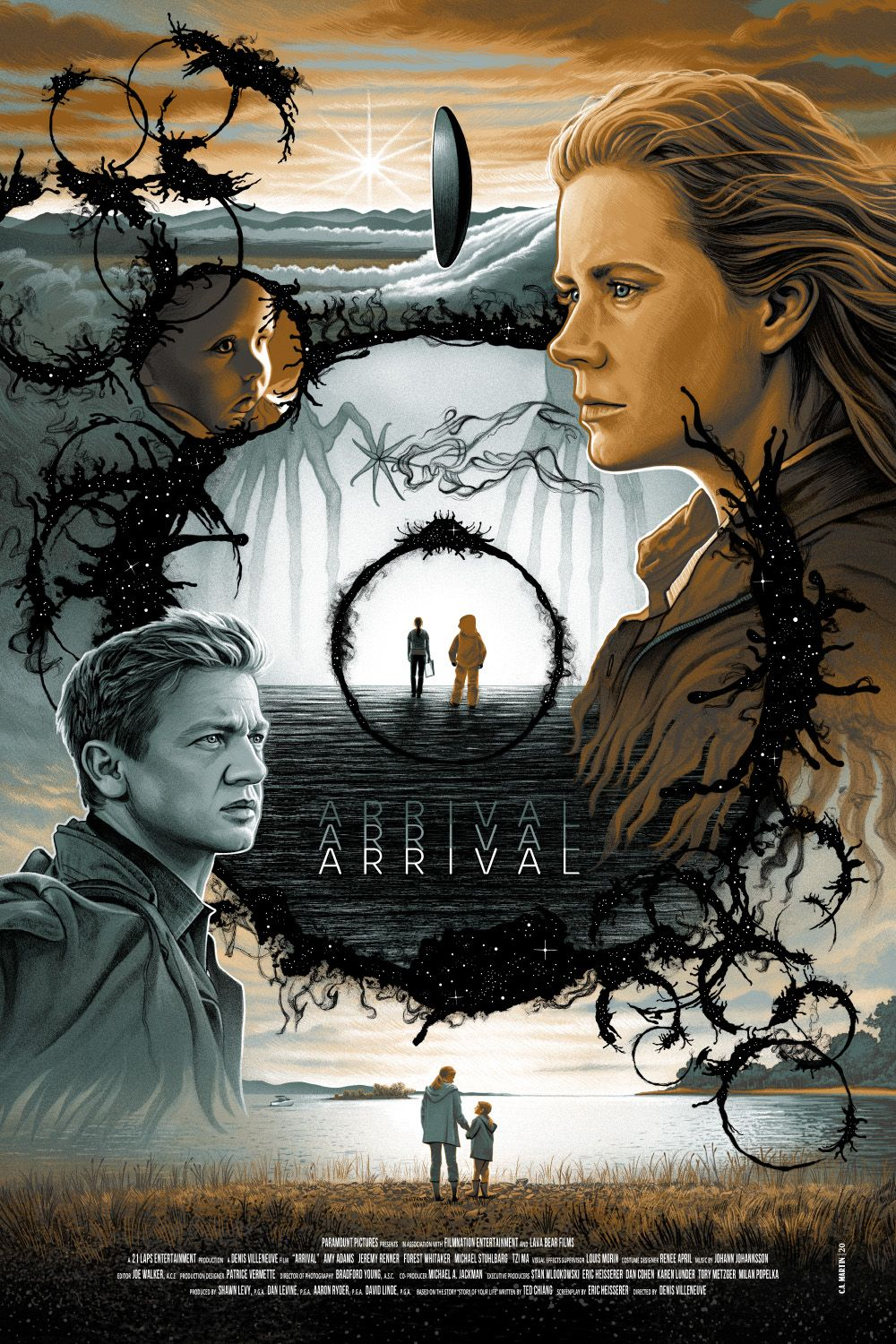 Arrival movie poster screen print by C.A. Martin