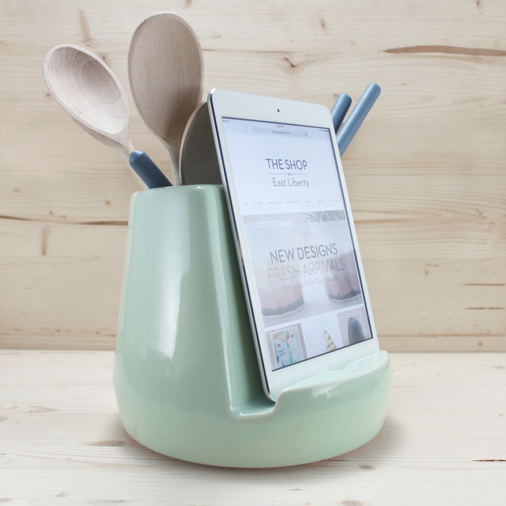 Tablet stand for kitchen  Stak Ceramics Mint Kitchen Dock Preorder Only  Cook in Stand