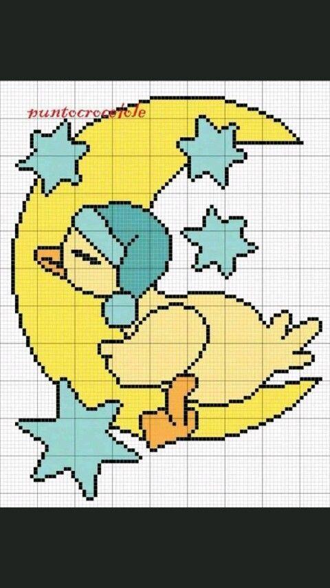 Pato en la luna | иголочка | Pinterest | Patos, Punto de cruz y Bordado