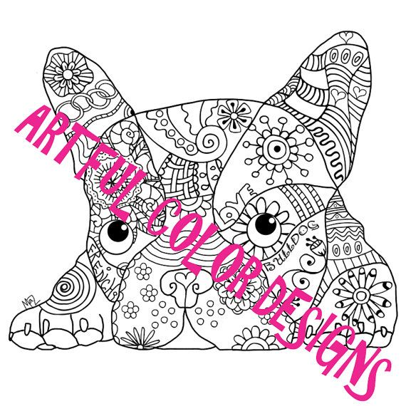 French Bulldog Dog Coloring Page Printable By Artfulcolordesigns
