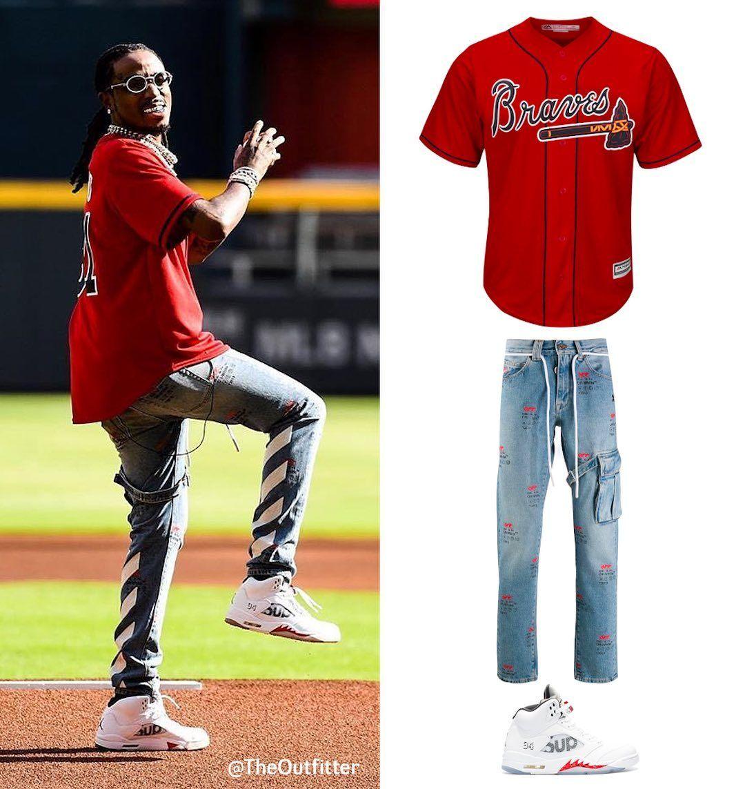 Quavo Fit Majestic Atlanta Braves Custom Jersey 300 Off White Logo Prin Printed Jeans Custom Jerseys Atlanta Braves