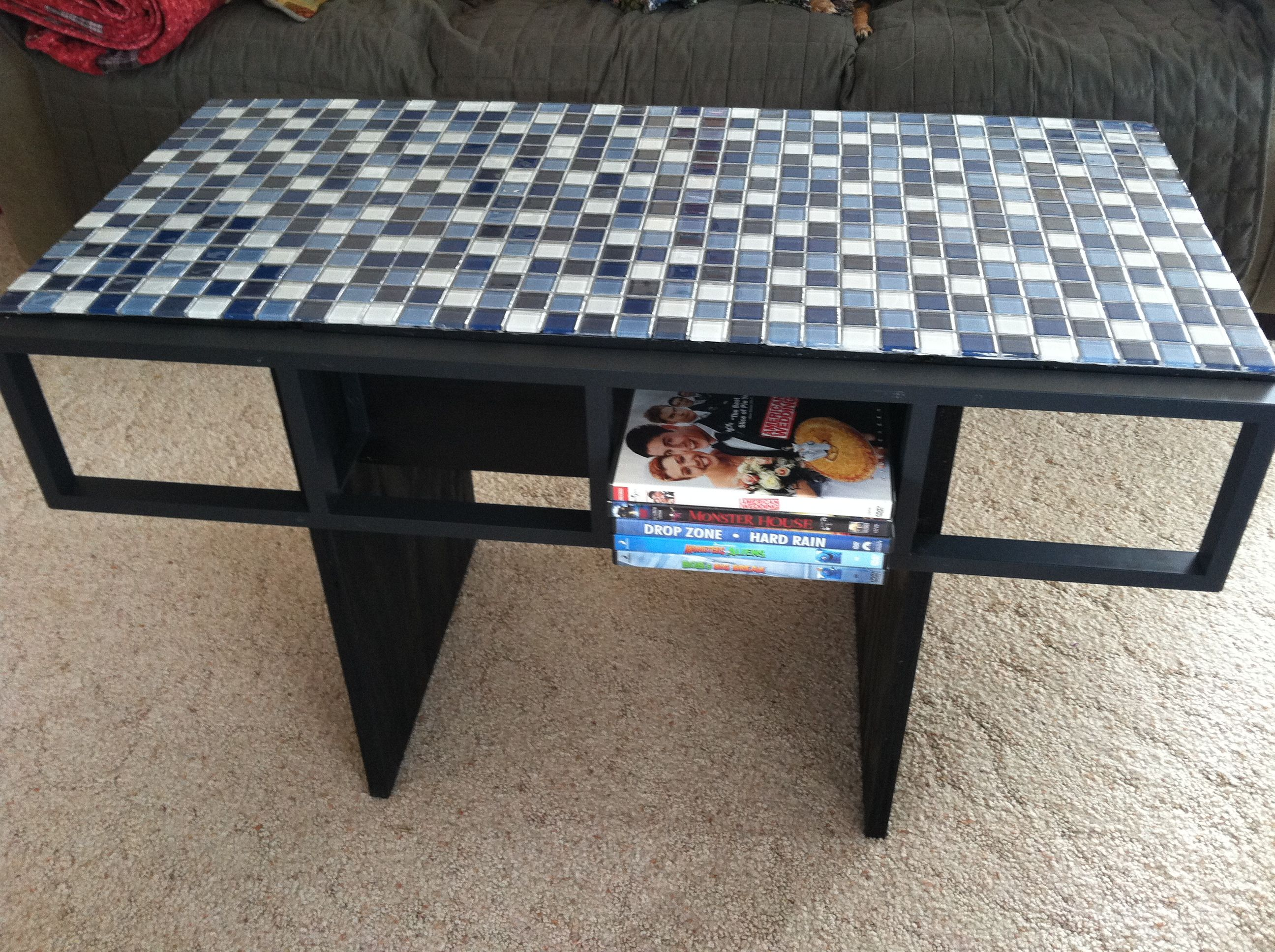 Ikea hack coffee table cdDVD racks with glass tile and plywood