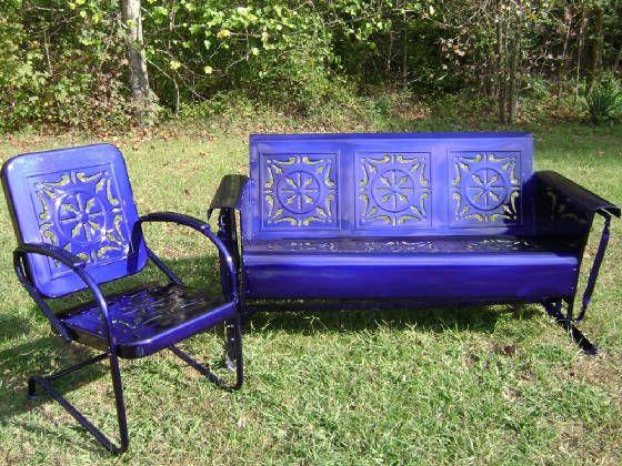 Blue Glider And Chair Vintage Vintage Patio Furniture Vintage