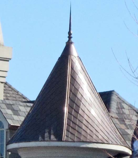 Copper Turret Roof With Custom Diamond Shaped Copper Roof Tile And A Copper  Finial Roof Cap