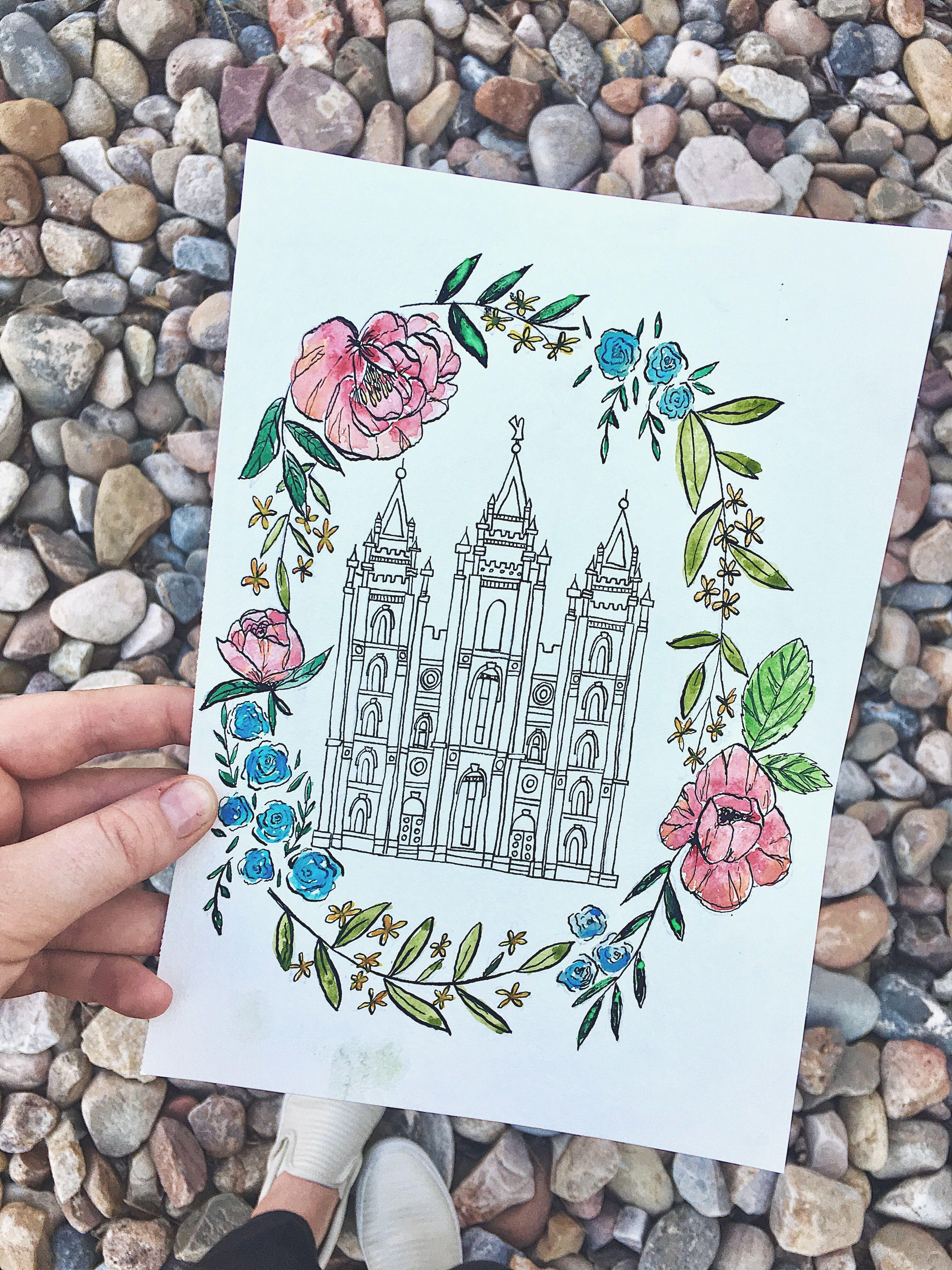 Watercolor Salt Lake LDS Temple floral outline @fullerachel | Rachel ...