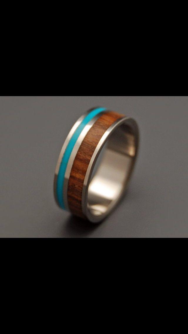 Titanium Turquoise wood wedding ring happytobeapalmer