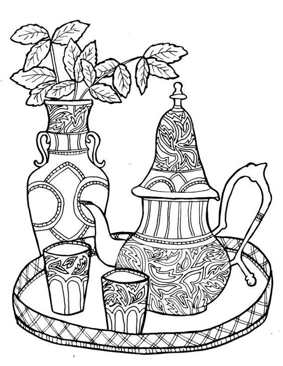 Coffee Coloring Page Coloring Pages Adult Coloring Pages Drawings