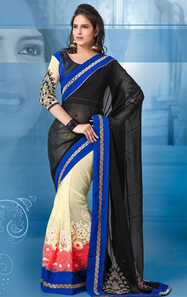 Picture of Sparkling Black and Off White Color Elegant Saree
