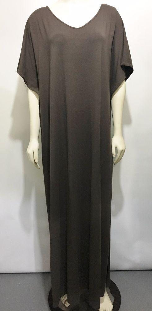 add7bdce722 J Jill Stretch Womens XL Brown Long Caftan Shift Sheath Dress V-Neck Side  Slits  JJill  SheathCaftan  Casual