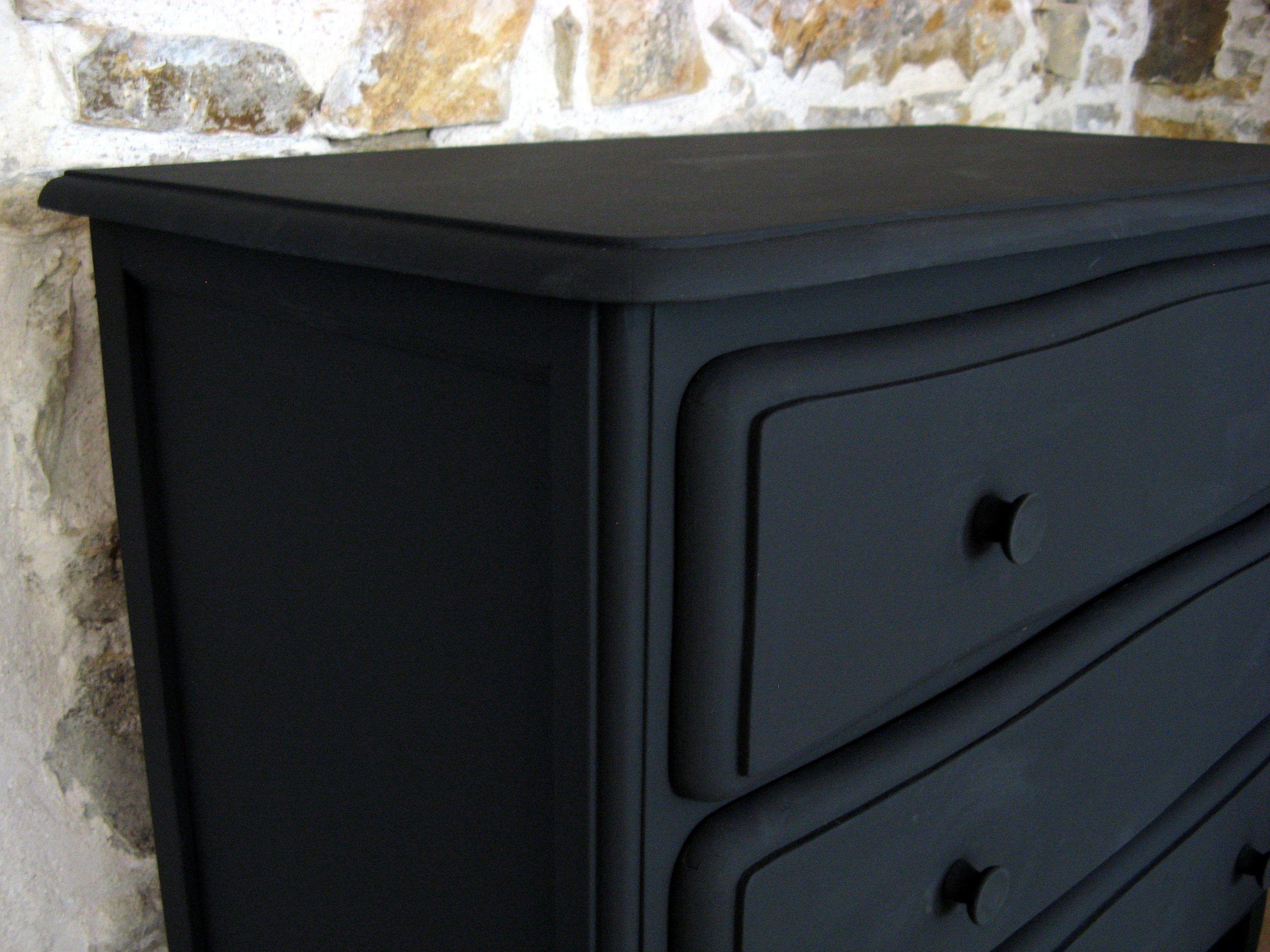 Commode 3 Tiroirs Noir Mat Detail Creation A Little A