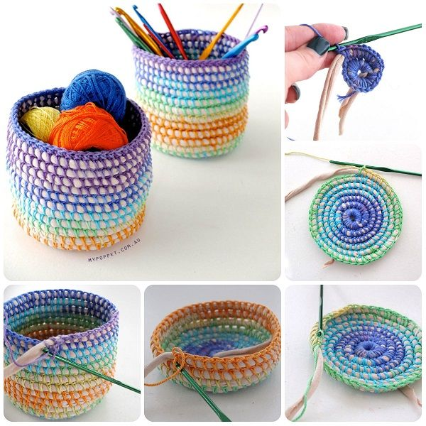 Come fare cestini a uncinetto con cotone e fettuccia - Cesta de cuerda y ganchillo ...